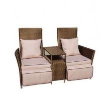 TWINS dwa fotele z podnóżkami i stolikiem z technorattanu