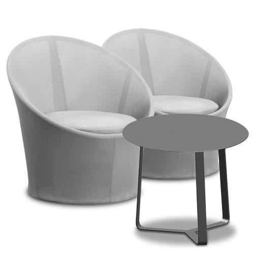Zestaw ogrodowy Lisbon SZARY ( 2 fotele + stolik )